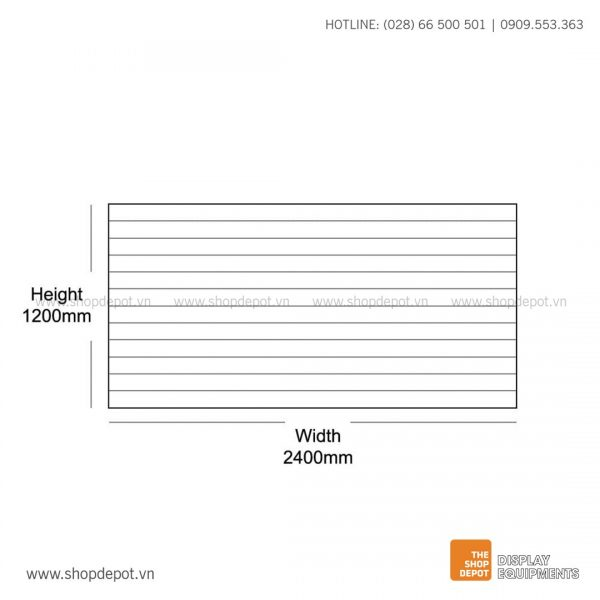Bảng gỗ Slatwall trưng bày, MDF 18mm - Trắng
