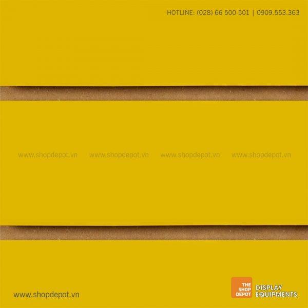 Bảng gỗ Slatwall trưng bày, MDF 18mm - Vàng
