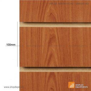 Bảng gỗ Slatwall trưng bày, MDF 18mm - Vân Cherry