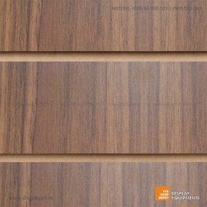 Bảng gỗ Slatwall trưng bày, MDF 18mm - Vân Walnut