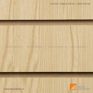 Bảng gỗ Slatwall trưng bày, MDF 18mm - Vân gỗ Ash