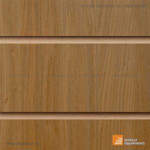 Bảng gỗ Slatwall trưng bày, MDF 18mm - Vân gỗ Oak