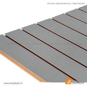 Bảng gỗ Slatwall trưng bày, MDF 18mm - Xám