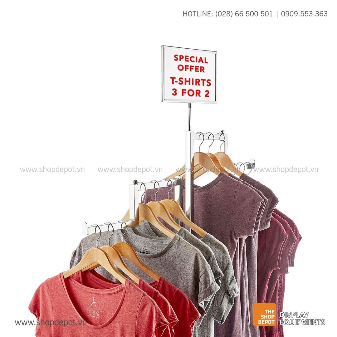 Bảng thông tin gắn giá trưng bày quần áo tự đứng TEVIN