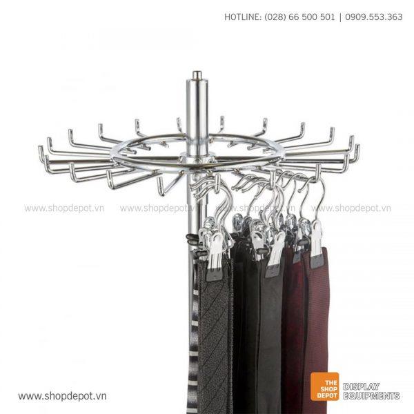 Giá trưng bày cà vạt & thắt lưng xoay tròn 1 tầng TOBIN