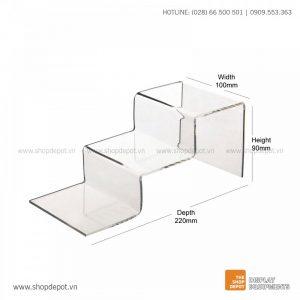 Kệ mica trưng bày bậc thang 3 tầng