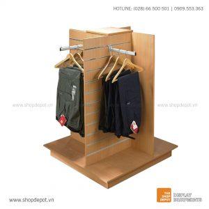 Quầy gỗ trưng bày Slatwall 04 hướng LEXI
