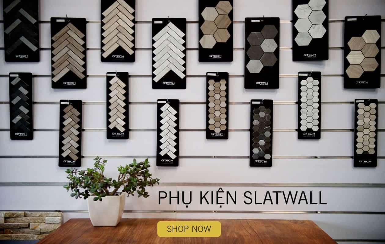 SHOPDEPOT   Tấm bảng gỗ xẻ rãnh trưng bày Slatwall gắn tường