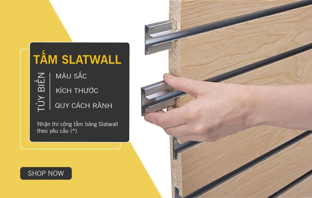 SHOPDEPOT | Tấm bảng gỗ xẻ rãnh trưng bày Slatwall gắn tường
