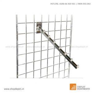 Tay treo trưng bày nghiêng với 07 bi cài khung lưới Gridwall